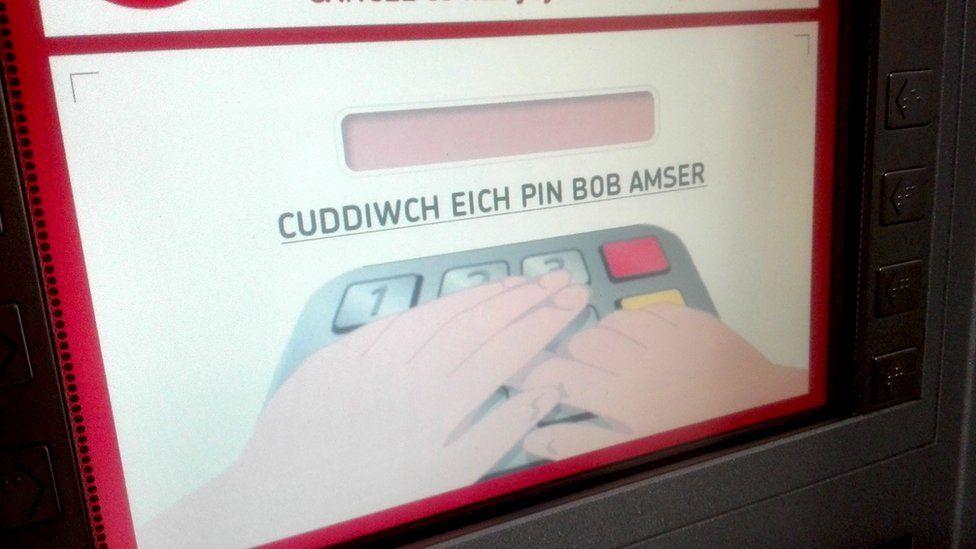 Welsh language instructions on cash machine