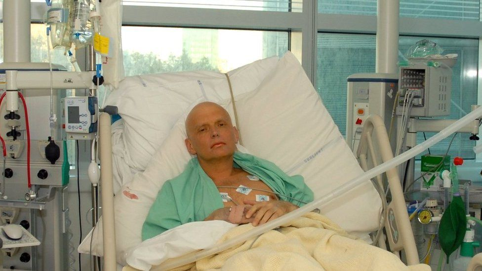 Alexander Litvinenko at University Hospital in London after being poisoned.