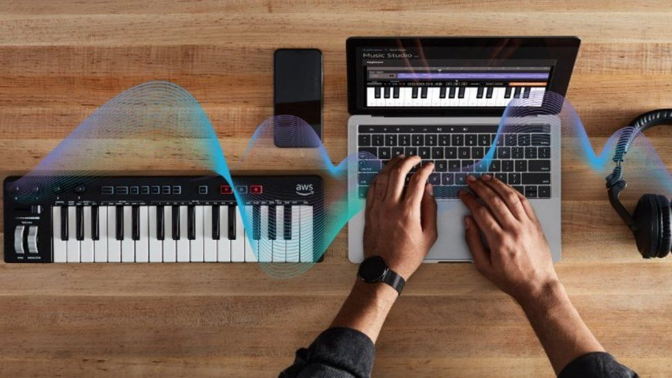 Amazon's music keyboard on a desk next to a laptop and headphones