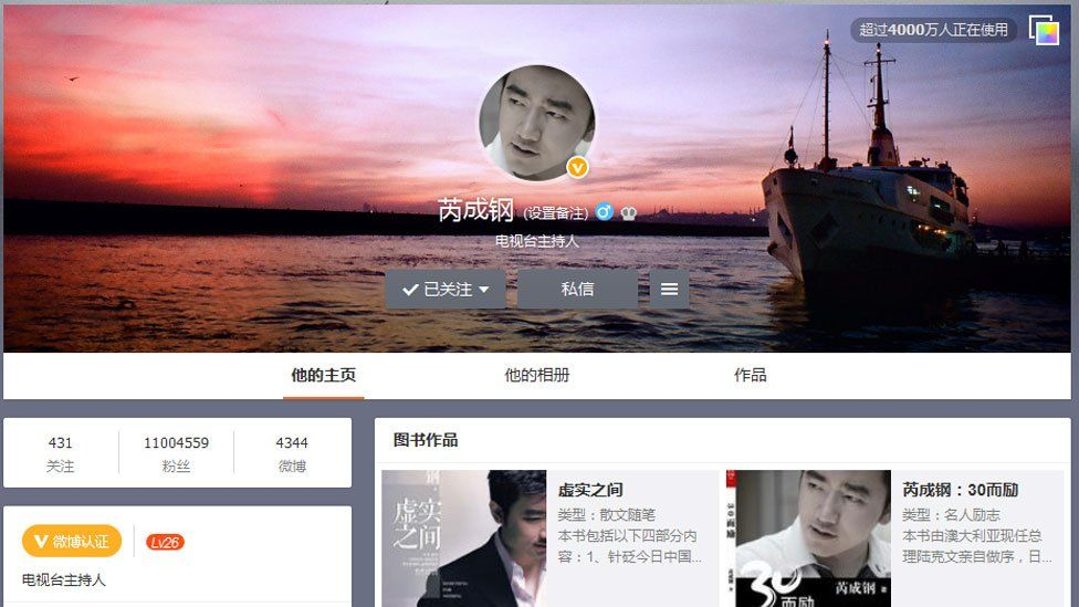 Screen grab of Rui Chenggang's Sina Weibo account