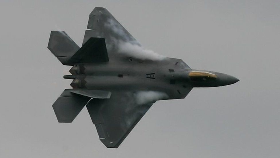 A US F22 Raptor fighter jet, on display at the Farnborough airshow in the UK, 2008