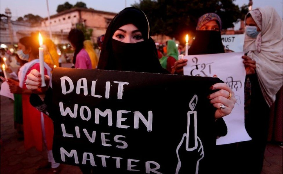 Indian activists protest against an alleged gang rape of a 19 years old Dalit woman in Uttar Pradesh state, in Bhopal,
