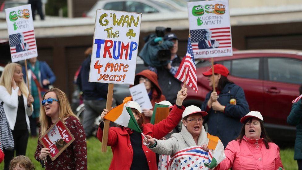 Supporters of Donald Trump outside Shannon Airport on Wednesday