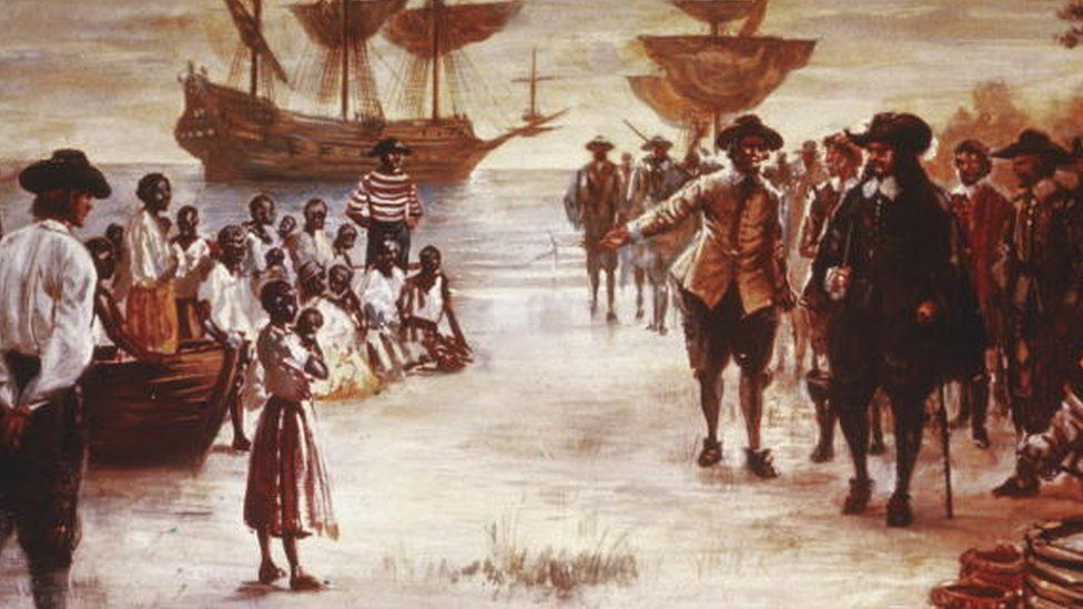 A painting shows the arrival of a Dutch slave ship with a group of African slaves for sale in Jamestown, Virginia, 1619