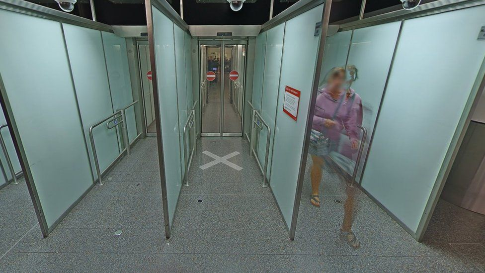 A still from Google maps, showing the exit gates at Gatwick airport