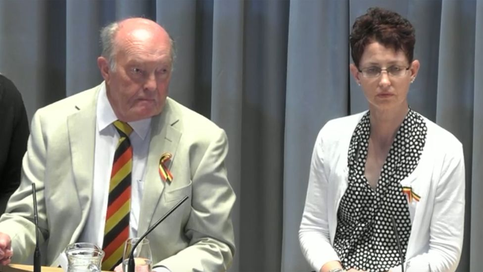 Paul's father Tony and wife Monica giving evidence