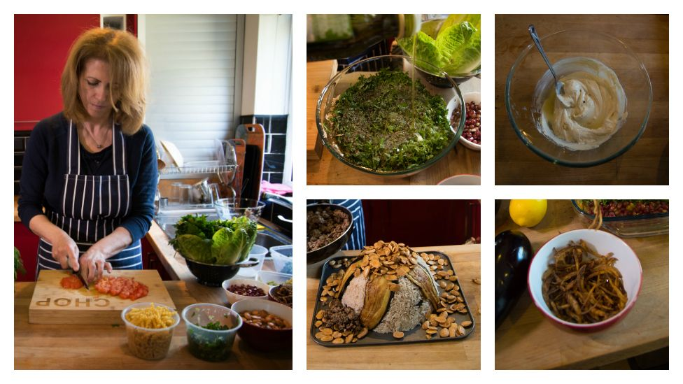 Majeda preparing chopped parsley (top middle), tahina (top right), maqluba (bottom middle), fried onions (bottom right)