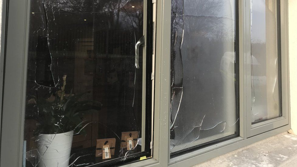 Bedroom windows were damaged in the arson attack