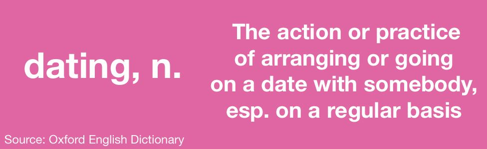 Image: Definition of dating - the action or practice of arranging or going on a date with somebody, especially on a regular basis.