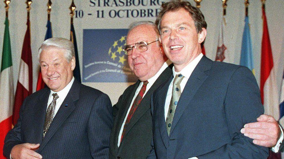 (Left-right): Boris Yeltsin, Helmut Kohl, Tony Blair