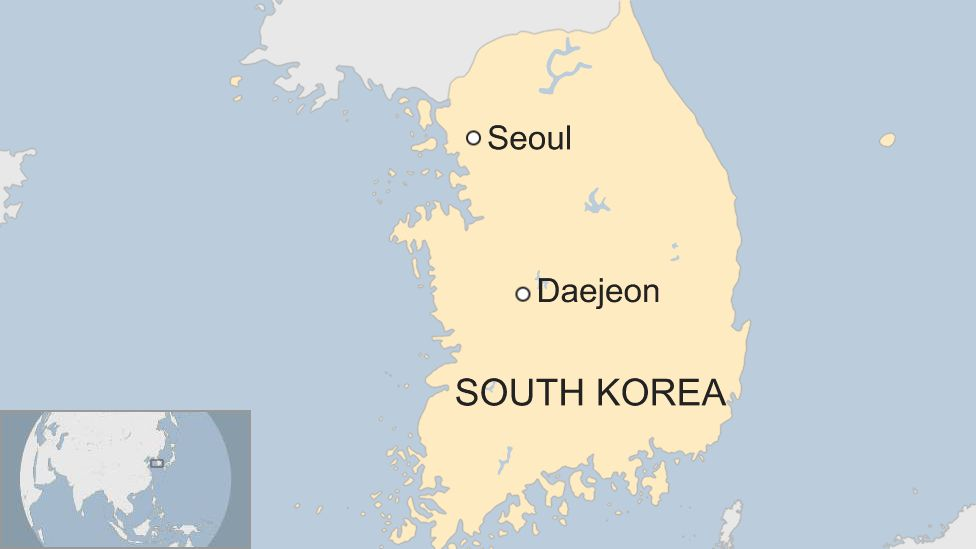 Map showing Daejeon in South Korea