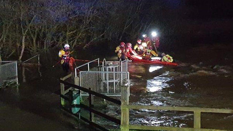 A rescue raft in a river