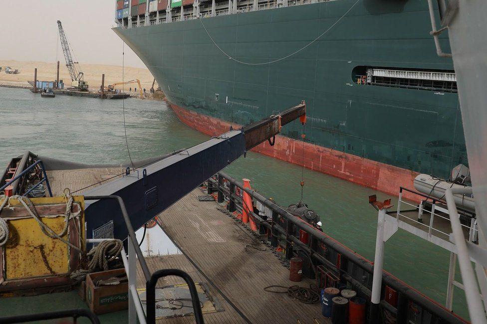A ship dredges
