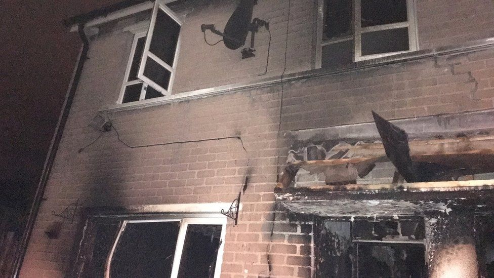 Police said the house on Monagh Drive was completely gutted