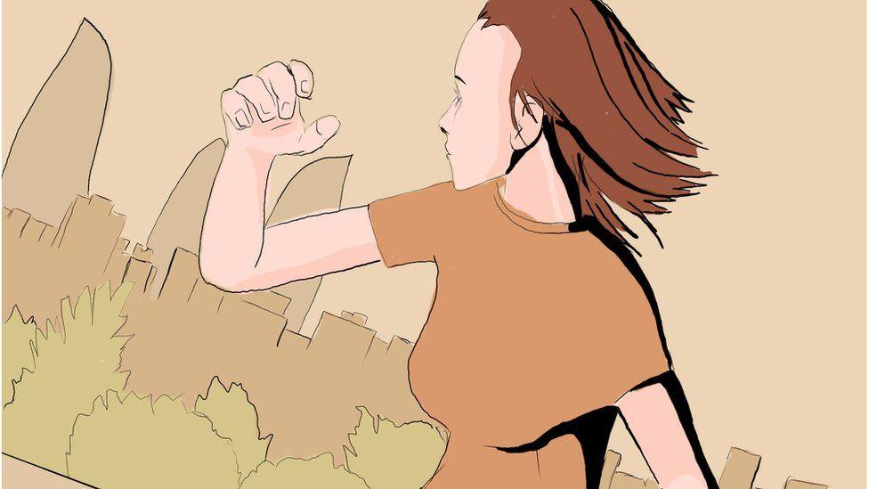 Рисунок. Девушка бежит на фоне вида Баку.