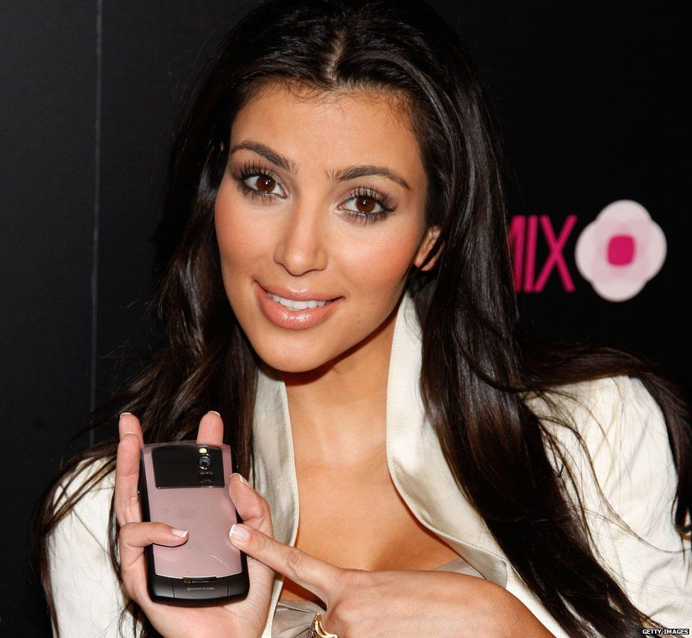 Kim Kardashian at the launch of the Blackberry 8330 Pink Curve in 2008