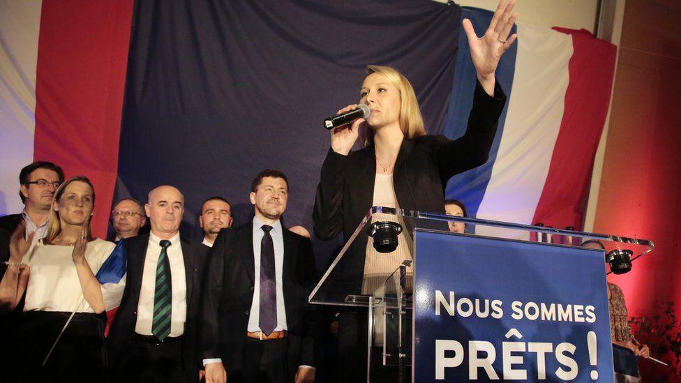 Marion Marechal-Le Pen greets supporters (6 Dec)