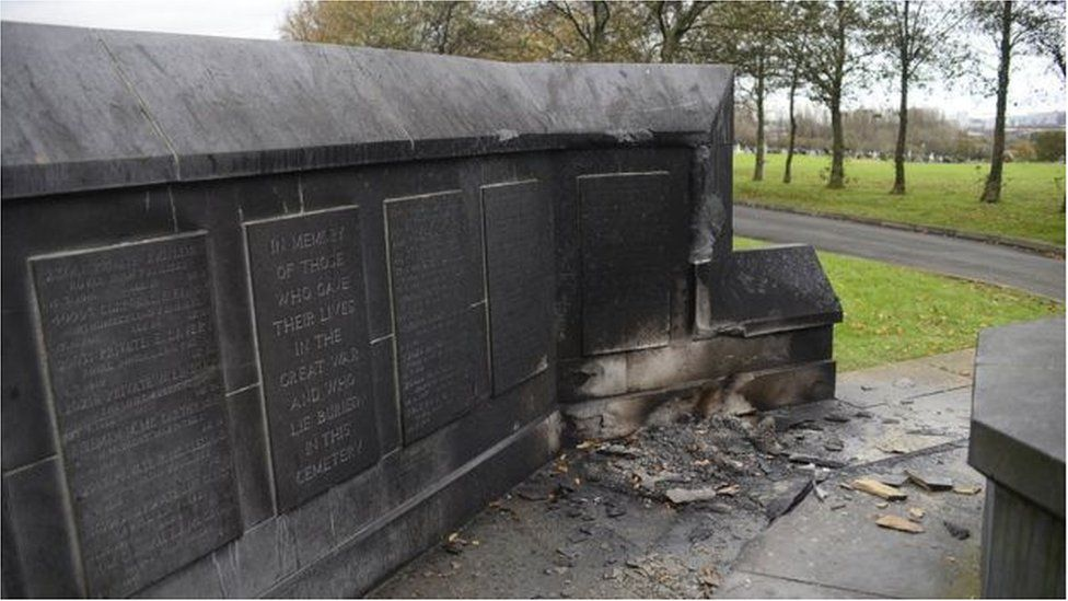 Damage to the war memorial