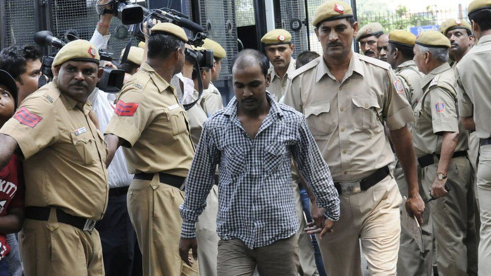 Delhi bus gang rape accused Mukesh Singh brought to Delhi High Court under high security for hearing on September 24, 2013 in New Delhi, India