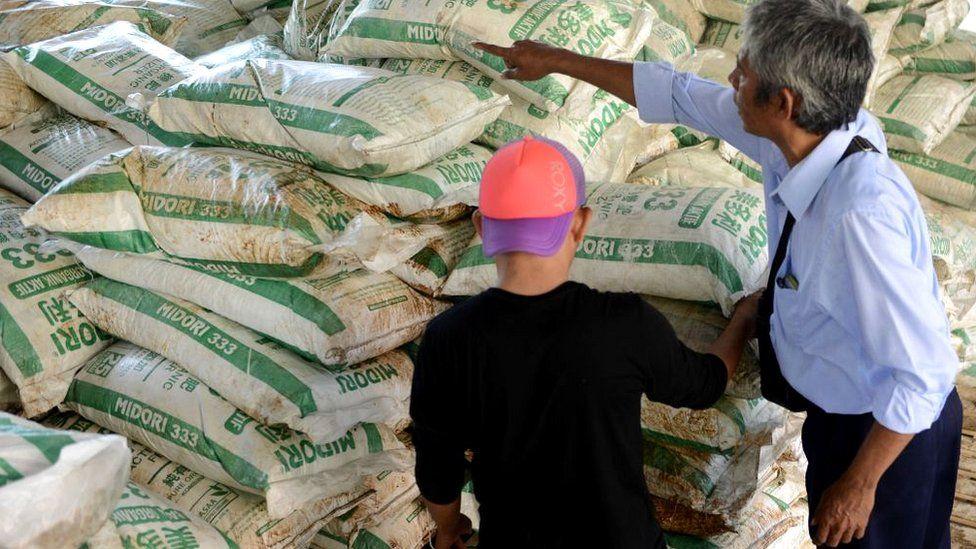 Bags of ammonium nitrate in customs storage in Indonesia