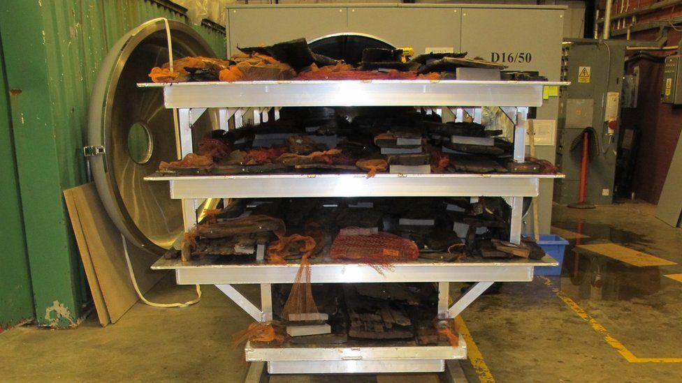 Planks of Newport Ship oak are freeze dried