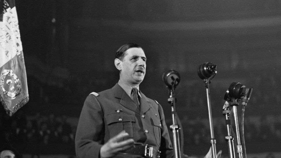 French general Charles de Gaulle addressing a meeting at the Royal Albert Hall, London in 1942