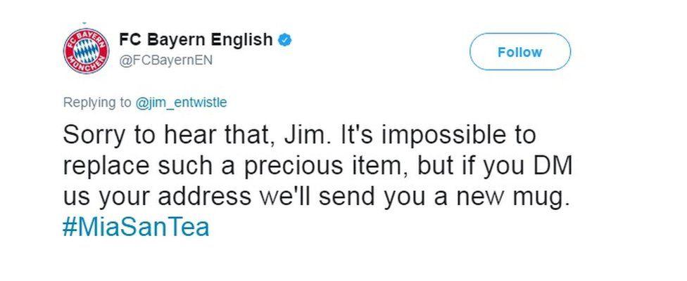 Bayern Munich's response to Jim's tweet