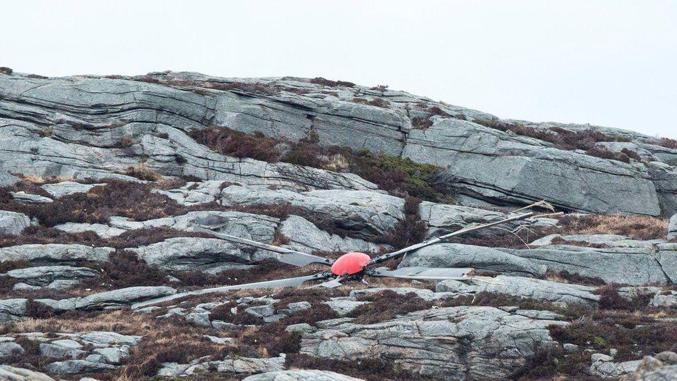 Wreckage of the rotor blade on Turoey island