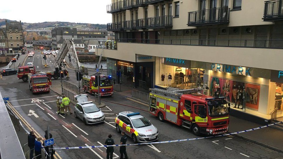 Emergency services at scene of fire