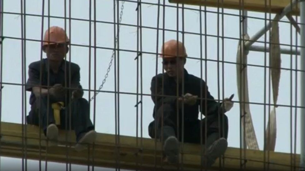North Korean workmen