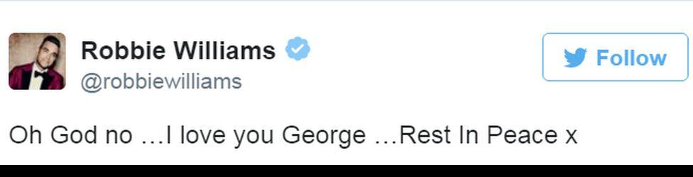 Robbie Williams' tweet