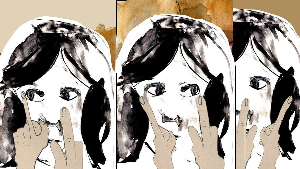 Illustration of fingers in front of a girl's face with her eyes moving left to right