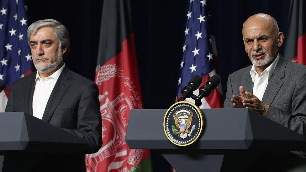 Afghan leaders President Ghani, right, and Abdullah Abdullah