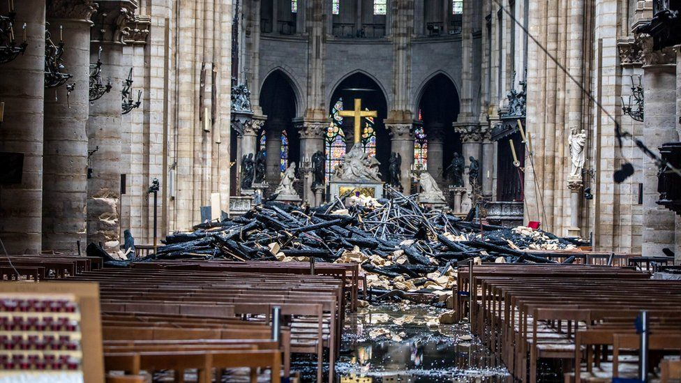 Interior view of Notre Dame after the fire