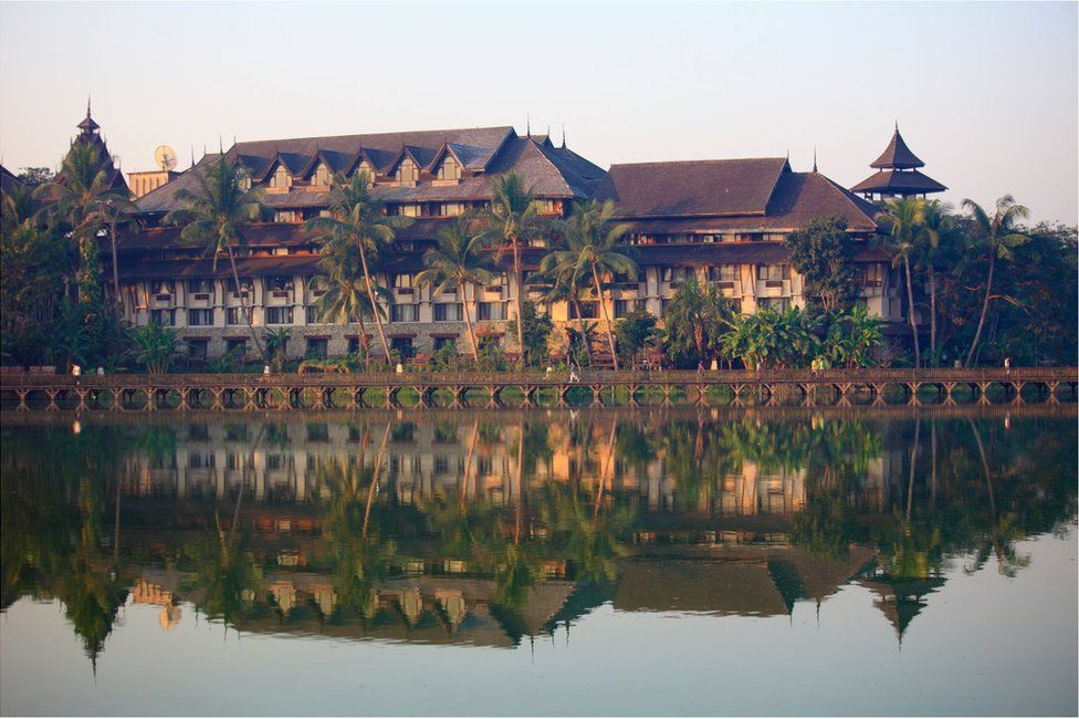 Picture of Kandawgyi Palace Hotel in Yangon before the October 2017 fire - ONE TIME USE ONLY