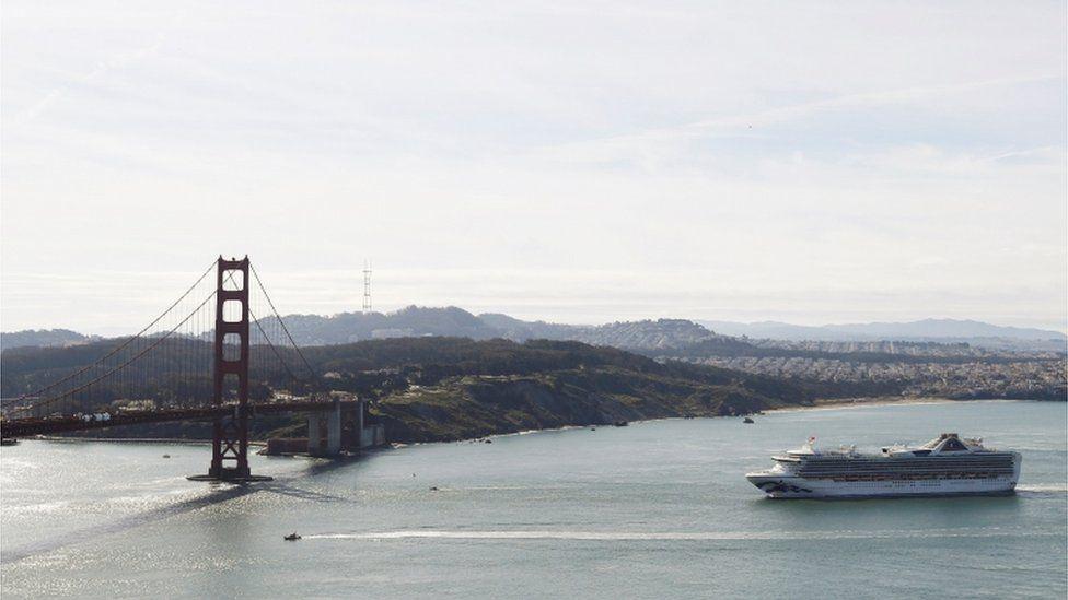 Grand Princess cruise ship near Golden Gate bridge