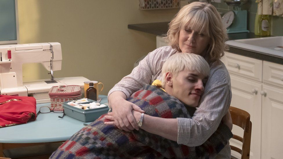 Max Harwood and Sarah Lancashire in Everybody's Talking About Jamie
