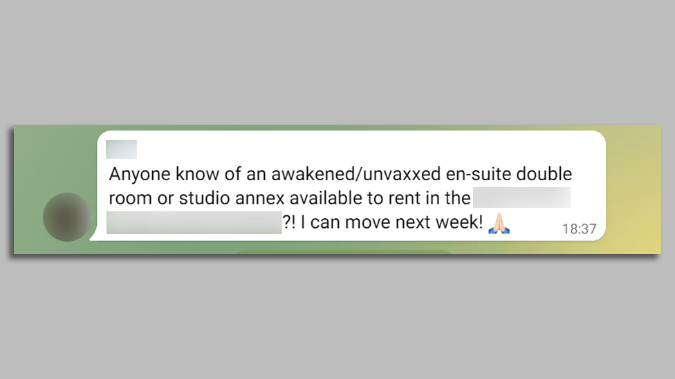 A post in a Telegram groups for unvaccinated people looking for house shares