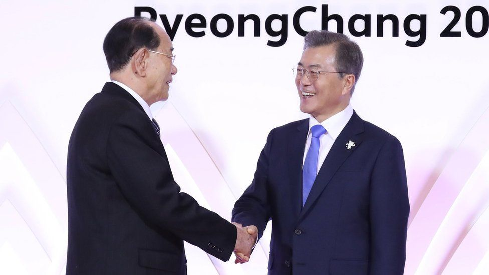 North Korea's Kim Yong Nam and South Korean president Moon Jae-in shake hands