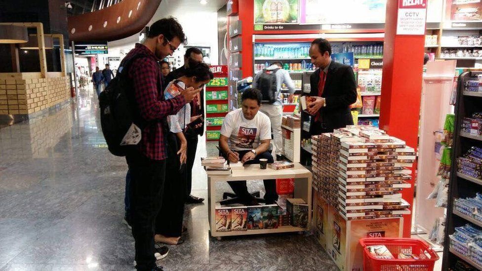 Author Amish Tripathi signs copies of his latest book