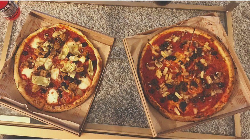 Two vegan pizzas. Photo: Lucy Sutcliffe