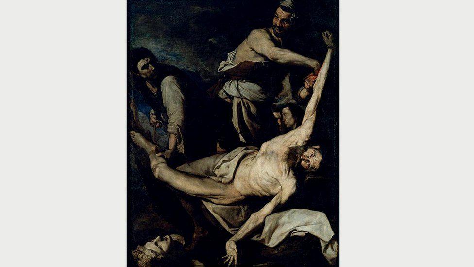 К 1644 году де Рибера начал изображать страдания святого более откровенно, не избегая жутких подробностей