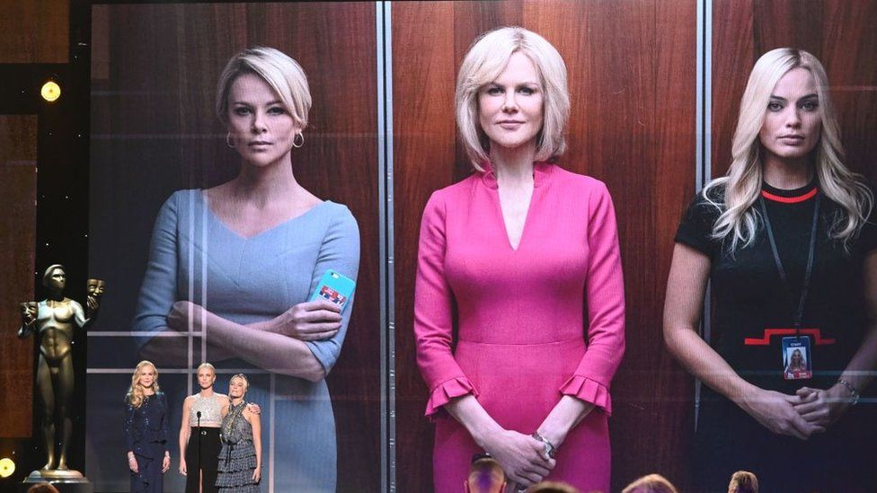 """(From L) Australian actress Nicole Kidman, US-South African actress Charlize Theron and Australian actress Margot Robbie present a clip of """"Bombshell"""" during the 26th Annual Screen Actors Guild Awards show at the Shrine Auditorium in Los Angeles on January 19, 2020."""