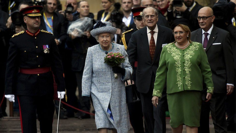 The Queen and Prince Philip with Malta's President Marie-Louise Coleiro Preca