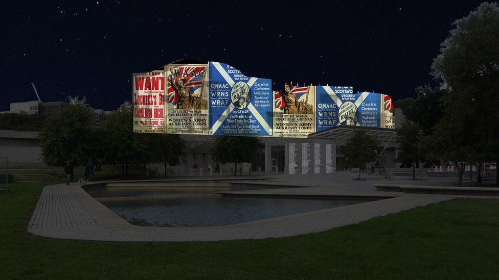 Artist's impression of projection on Holyrood building