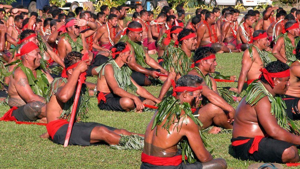 Samoan chiefs attend a ceremony