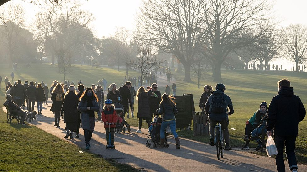 South Londoners take their exercise in a cold Brockwell Park in Lambeth and during the third pandemic lockdown, on 9th January 2021, in London, England