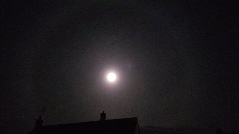 Moon halo, as seen from Cleeve in North Somerset