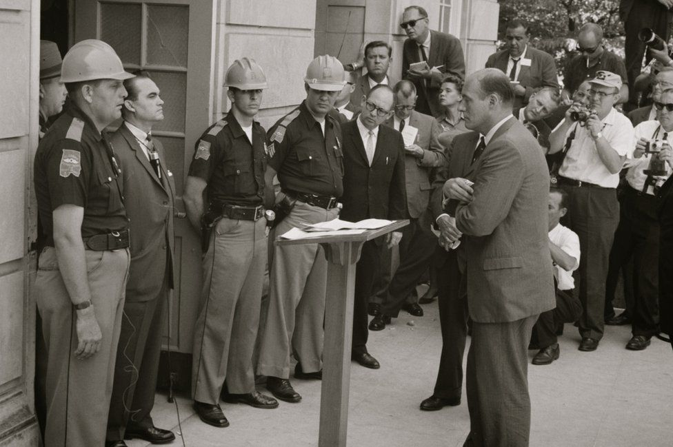Governor Wallace blocking the entrance to the University of Alabama