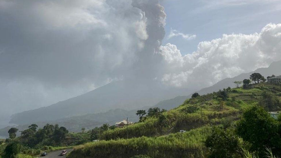 The volcano as it erupted